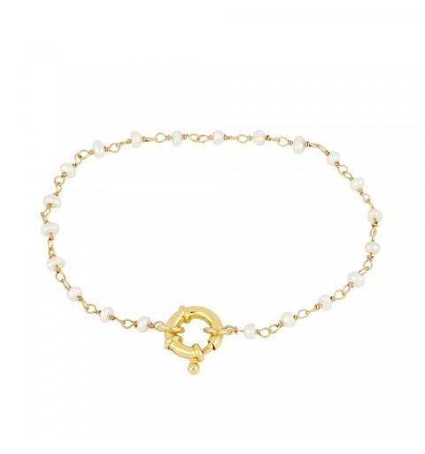 Pulsera de plata de ley y baño de oro con perla natural y una bonita reasa como cierre