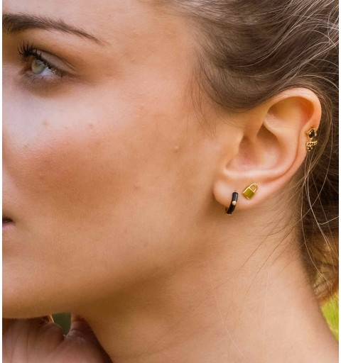 CIRCE BLACK HOOPS GOLD