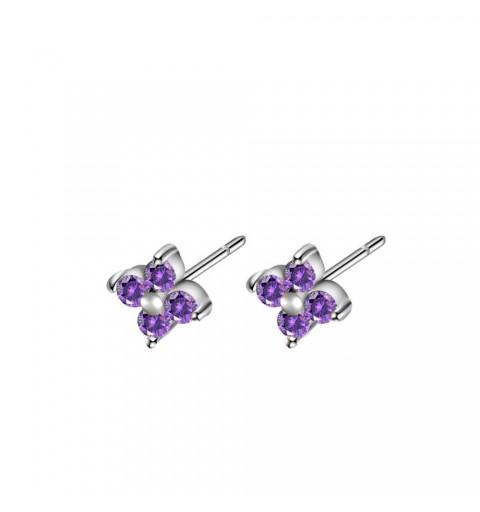 Pendiente mini con circonitas lilas, Lilac Alicie Silver