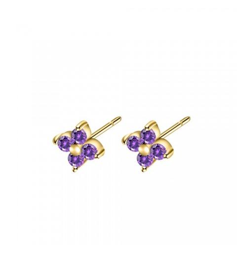 Pendiente mini con circonitas lilas, Lilac Alicie Gold