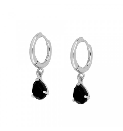 BLACK DROP HOOPS SILVER