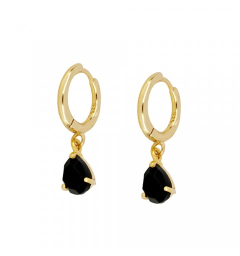 BLACK DROP HOOPS GOLD