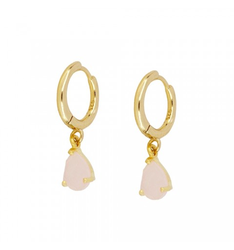 PINK DROP HOOPS GOLD