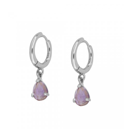 AMETHYST DROP HOOPS SILVER