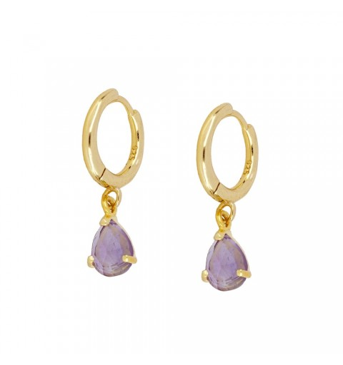 AMETHYST DROP HOOPS GOLD
