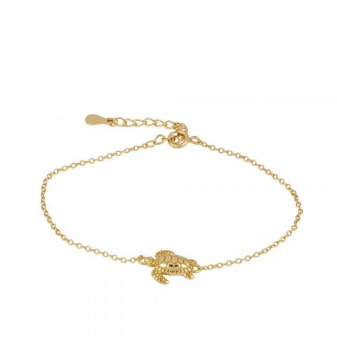 pulsera con tortuga, de plata de ley con baño de oro