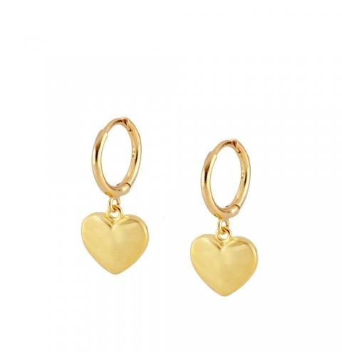 Pendientes de aro con corazón de plata 925 con baño de oro.