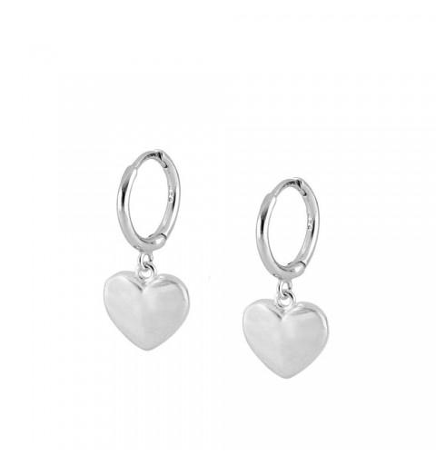 Pendientes de aro con corazón de plata 925