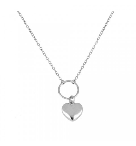 925 silver necklace with ring and heart