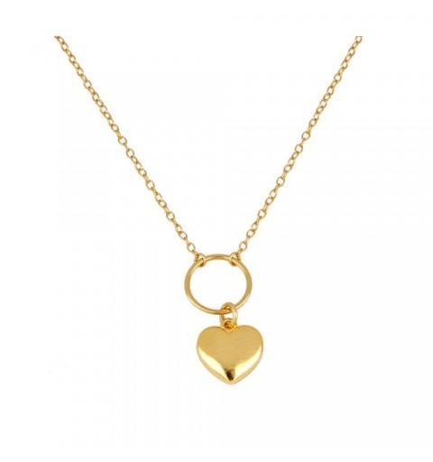 Gargantilla de plata 925 con baño de oro, con aro y corazón