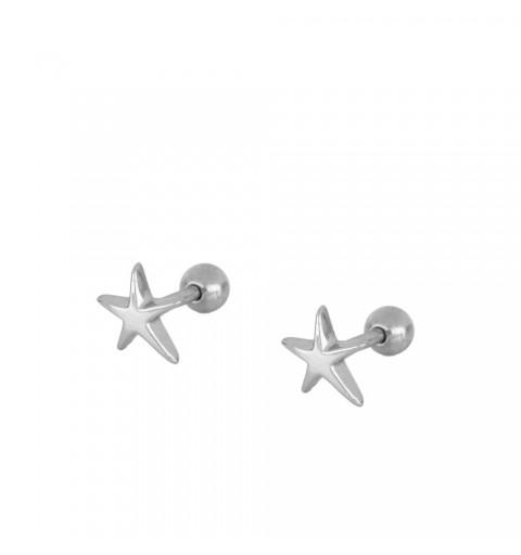 Pendiente estrella de mar, piercing de plata de ley.