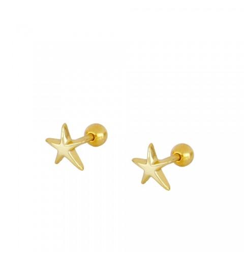 Pendiente estrella de mar, piercing de plata de ley con baño de oro