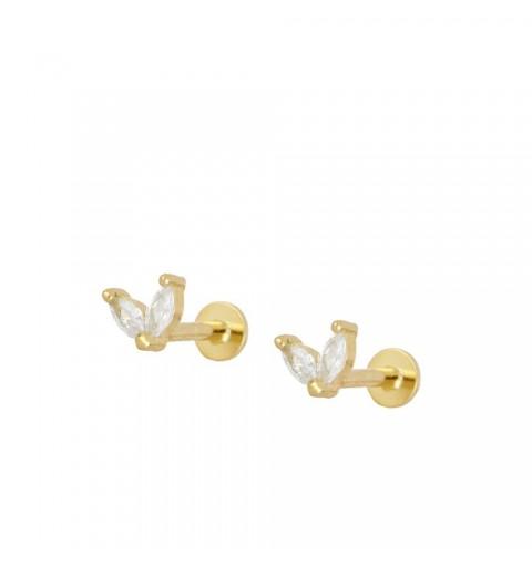 Sterling silver ear piercing earring, gold-plated