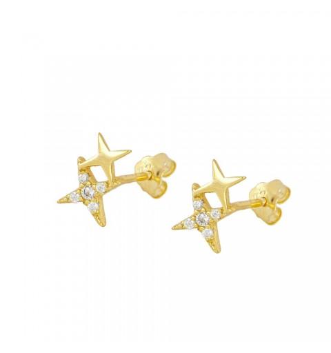 Pendientes estrellas disponibles en plata de primera ley con baño de oro.