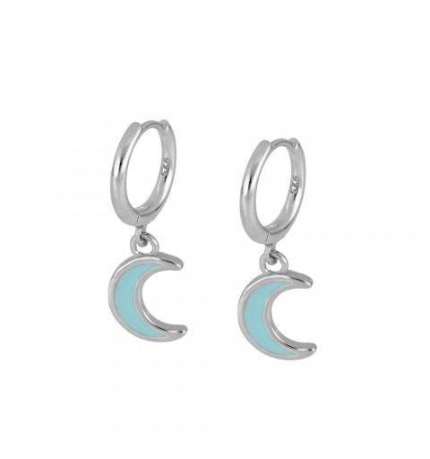 Pendientes de plata , aro con luna de enamel turquesa