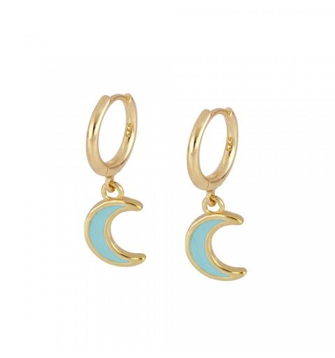 Pendientes de plata con baño de oro con aro y luna de enamel turquesa