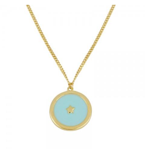Gargantilla de plata 925 con baño de oro, con estrella sobre enamel turquesa
