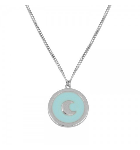 925 silver necklace with moon. Enamel turquoise