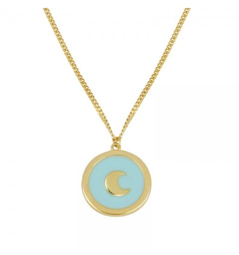 Collar de plata de ley y baño de oro, con luna sobre enamel turquesa