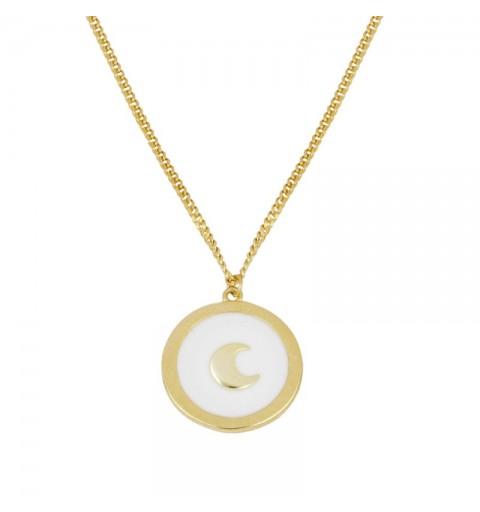 Gargantilla de plata 925 con baño de oro, con luna sobre enamel blanco