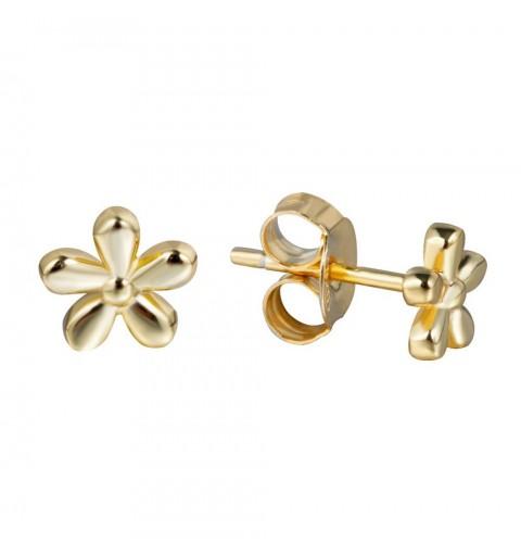 Pendientes minis, flor de 5,5mm, de plata de ley con baño de oro