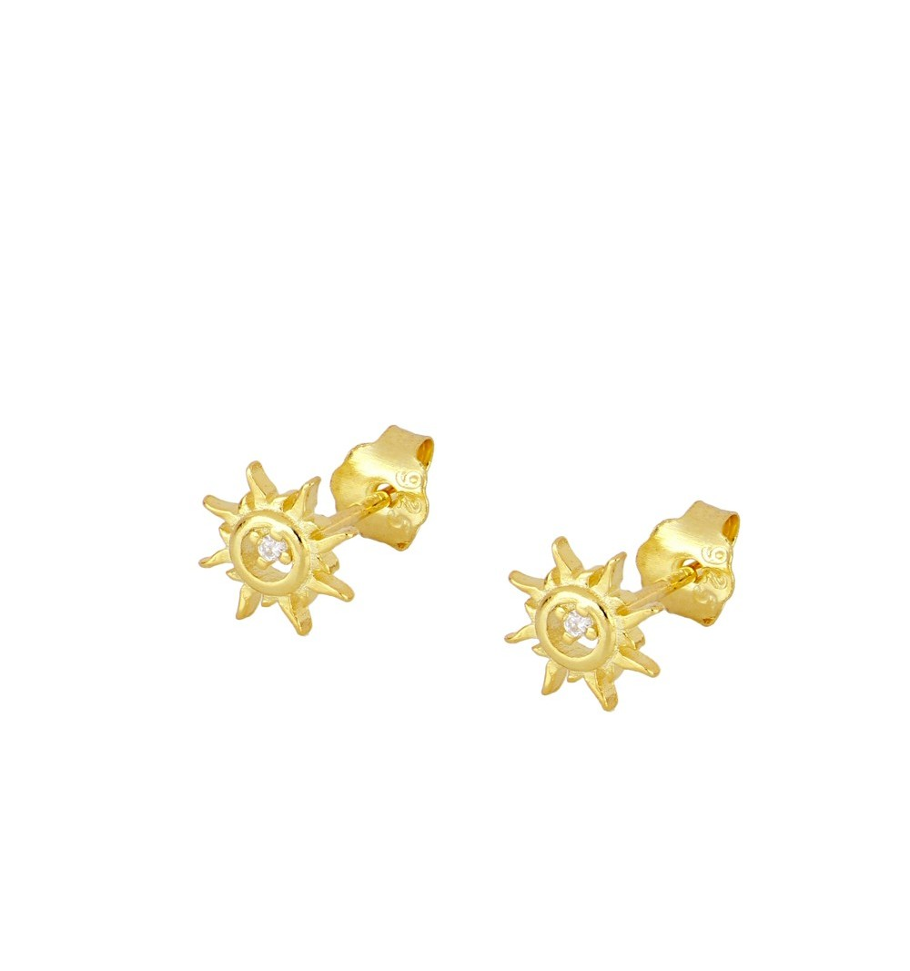 Earrings sun 925 sterling silver gold-plated.