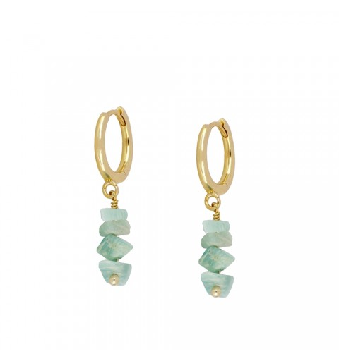 Earrings of ring of 11mm, 925 sterling silver, gold-plated.