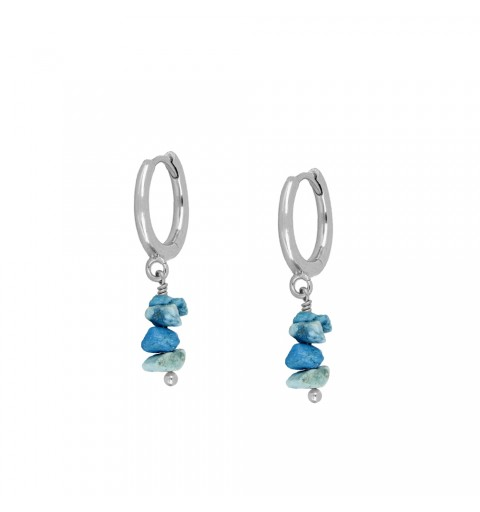 Earrings of ring of 11mm, 925 sterling silver, wiht turquoise.