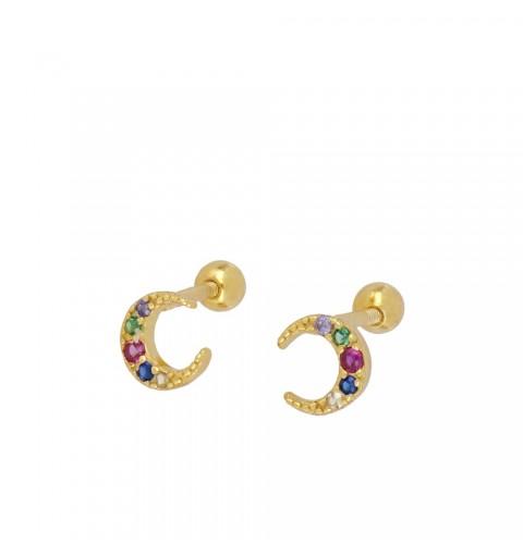 Pendiente piercing para oreja, disponible en plata de primera ley, con baño de oro