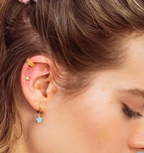 Ear cuff de plata de ley con baño de oro