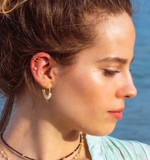 PEARL EARRING HOOPS GOLD