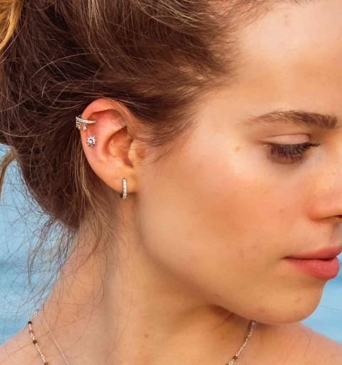 Ear cuff de plata de ley y circonitas