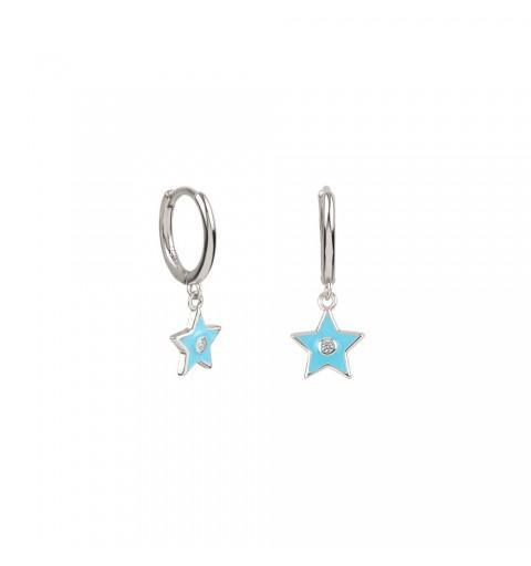Pendiente de aro  de plata de ley, estrella turquesa y circonita