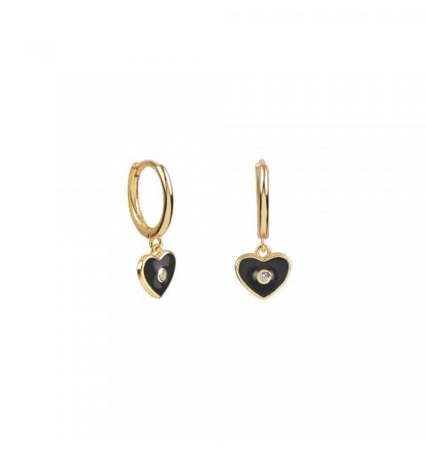 Pendiente de aro  de plata de ley con baño de oro, corazón negro y circonita