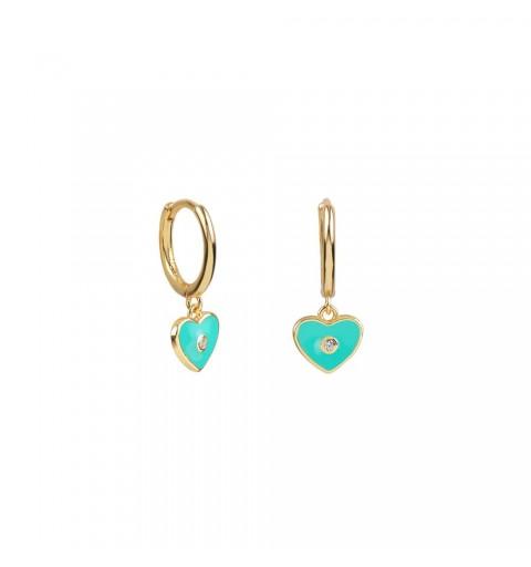 Pendientes de aro de plata 925 con baño de oro , con corazón de color verde azulado