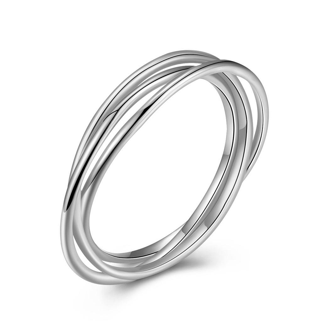 Sterling Silver Interlocking Triple Ring