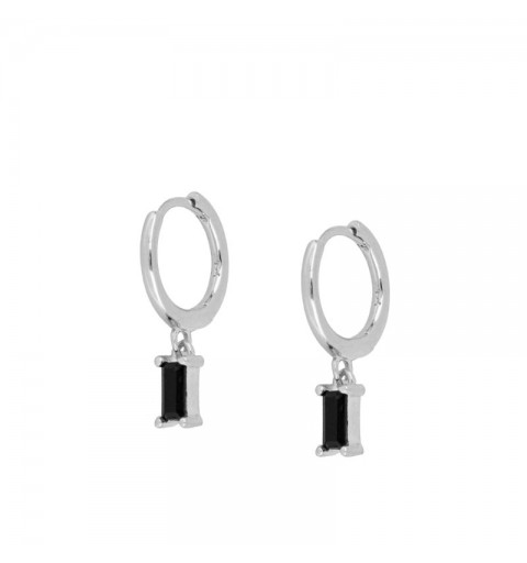 ZENITH BLACK HOOPS SILVER