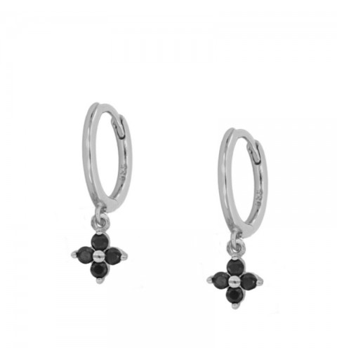 BLACK MEG HOOPS SILVER