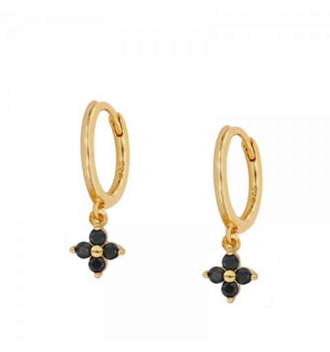 BLACK MEG HOOPS GOLD