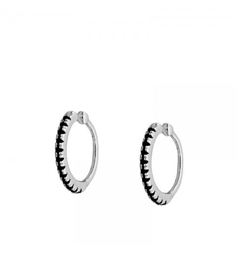 VENUS BLACK EAR CUFF SILVER