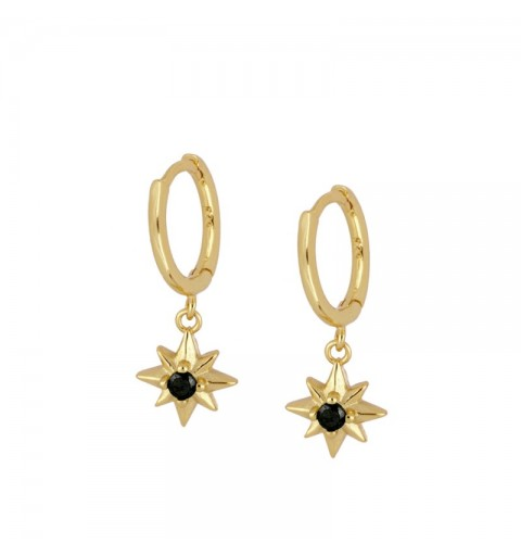 SEMELE BLACK HOOPS GOLD