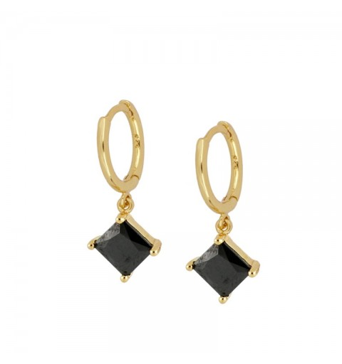 MARIEL BLACK HOOPS GOLD