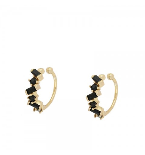 IVONE BLACK EAR CUFF GOLD