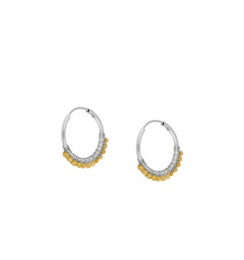 PEACH EARRING HOOPS SILVER