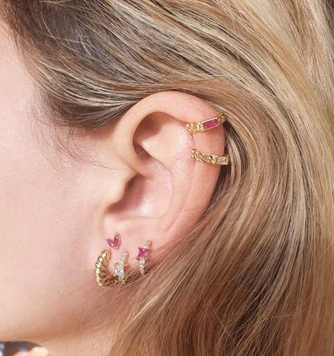 BRENDA FUCHSIA EAR CUFF GOLD