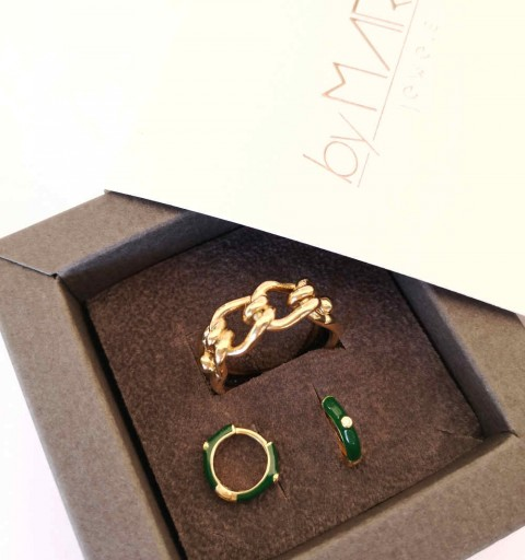 CIRCE GREEN HOOPS GOLD