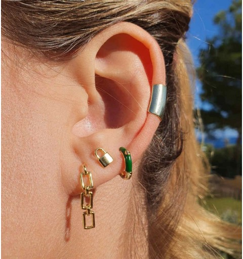 Pendiente con eslabones, Rita Gold, combinado con Padlock minis, Circe green