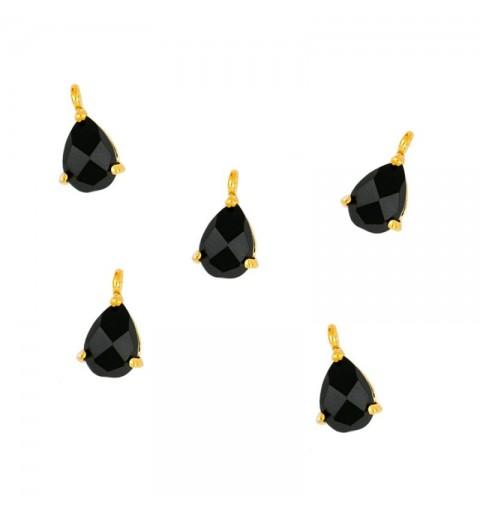 BLACK DROP CHARM GOLD